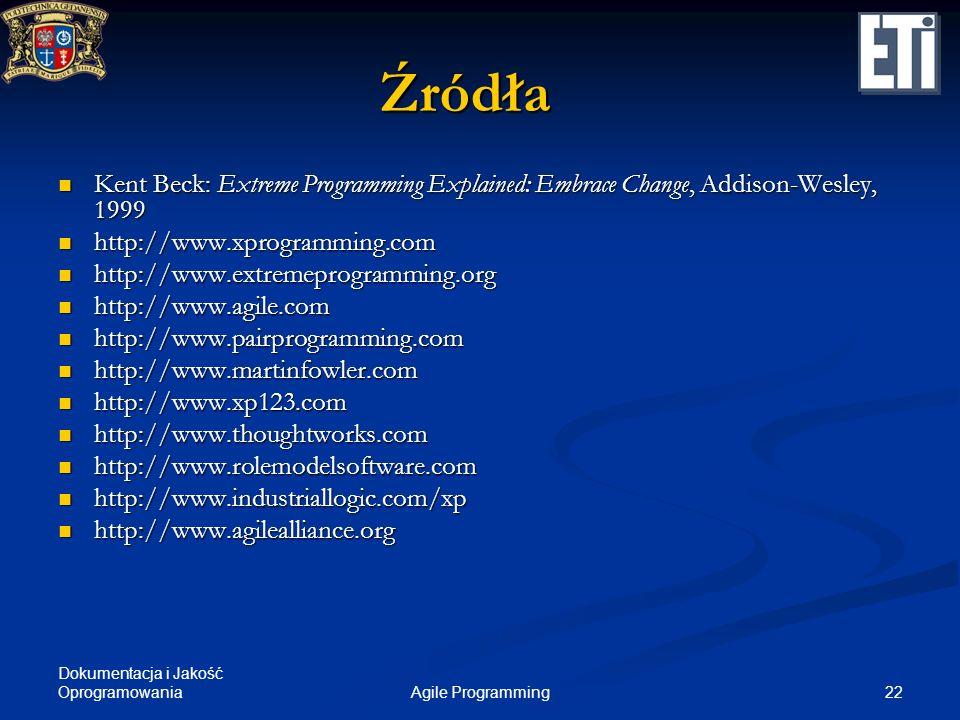 Źródła Kent Beck: Extreme Programming Explained: Embrace Change, Addison-Wesley, 1999. http://www.xprogramming.com.