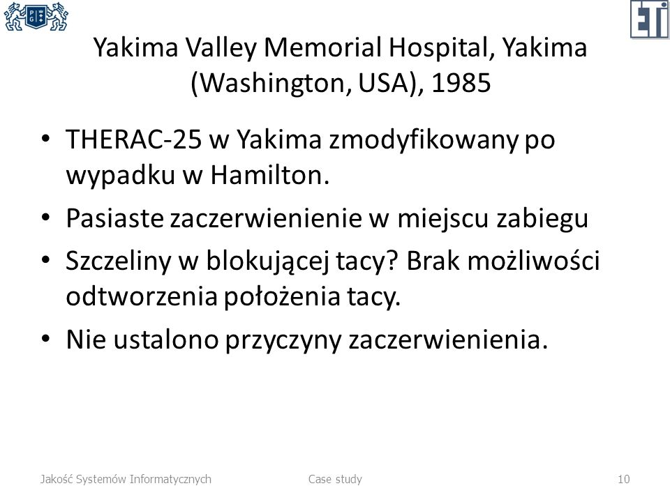 Yakima Valley Memorial Hospital, Yakima (Washington, USA), 1985