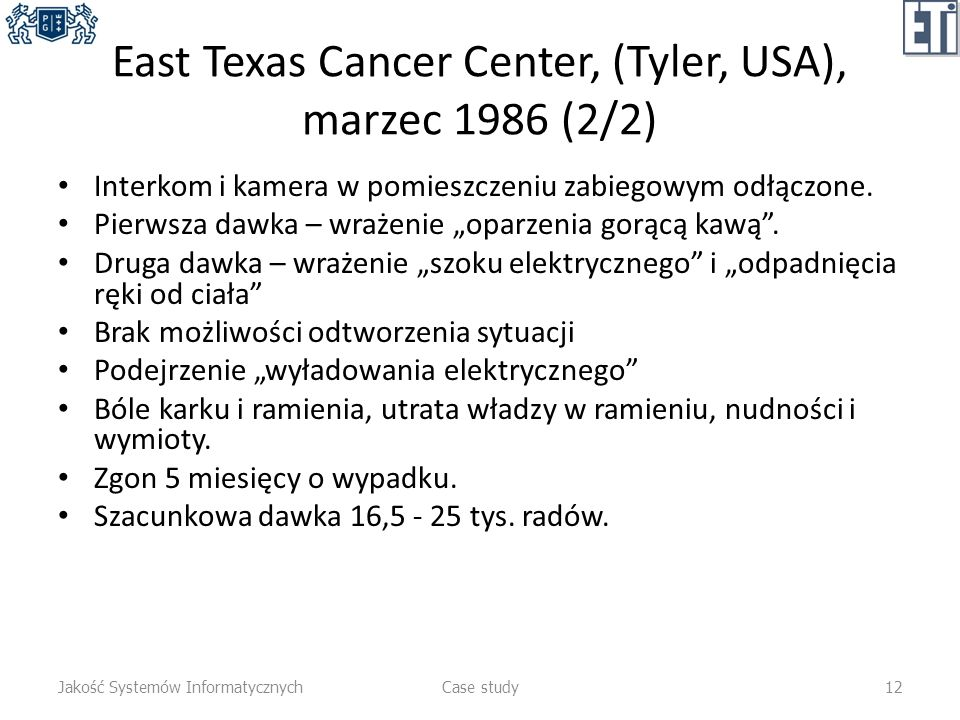 East Texas Cancer Center, (Tyler, USA), marzec 1986 (2/2)