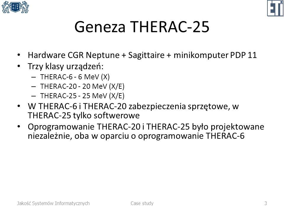 Geneza THERAC-25 Hardware CGR Neptune + Sagittaire + minikomputer PDP 11. Trzy klasy urządzeń: THERAC-6 - 6 MeV (X)