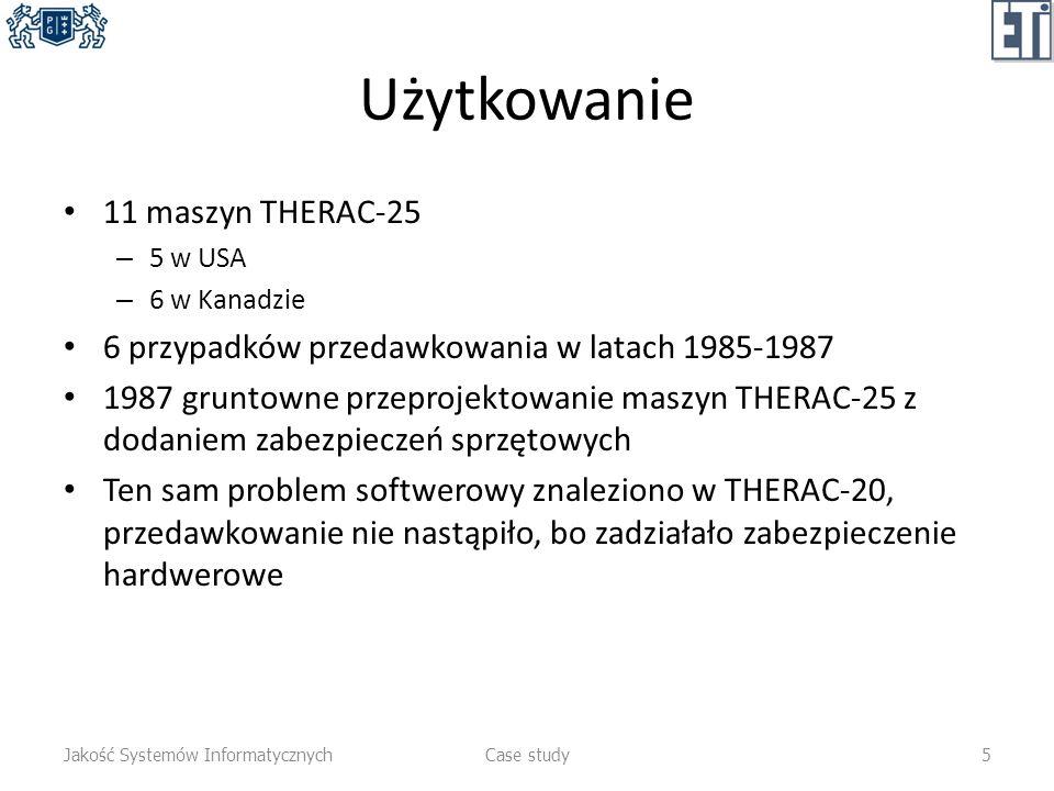 Użytkowanie 11 maszyn THERAC-25