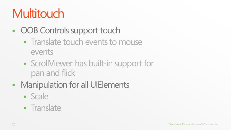 Multitouch OOB Controls support touch