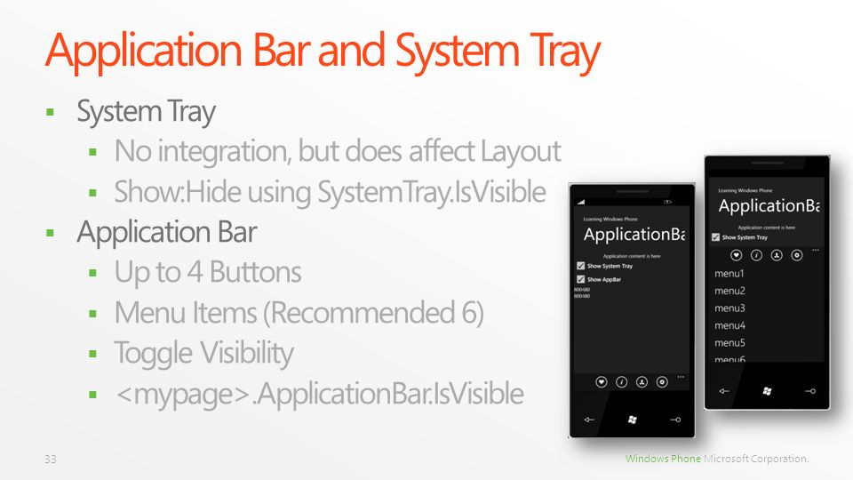 Application Bar and System Tray