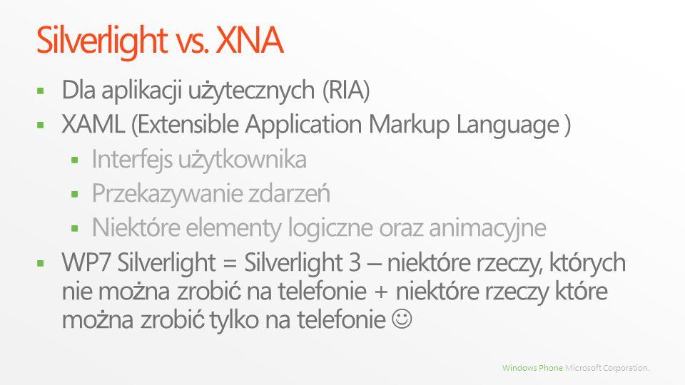 Silverlight vs. XNA Dla aplikacji użytecznych (RIA)