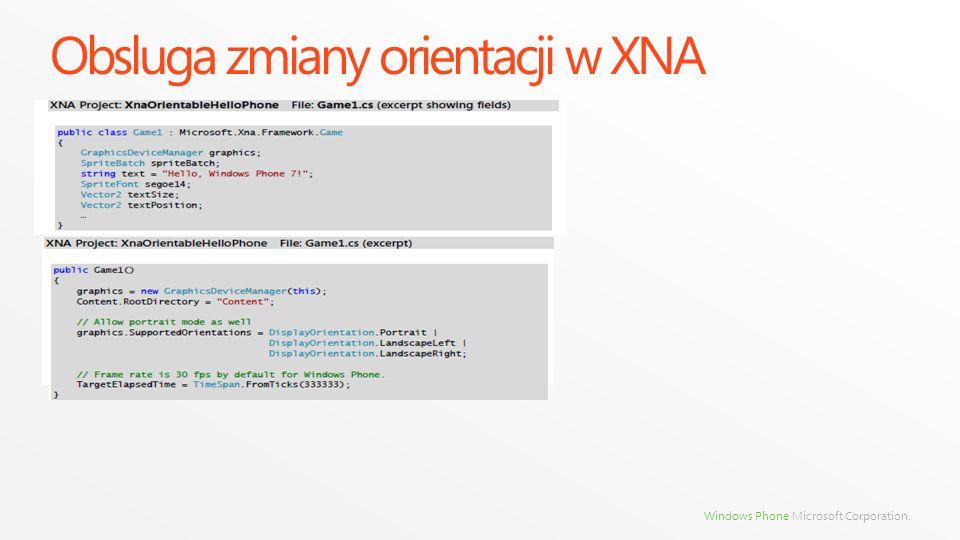 Obsluga zmiany orientacji w XNA