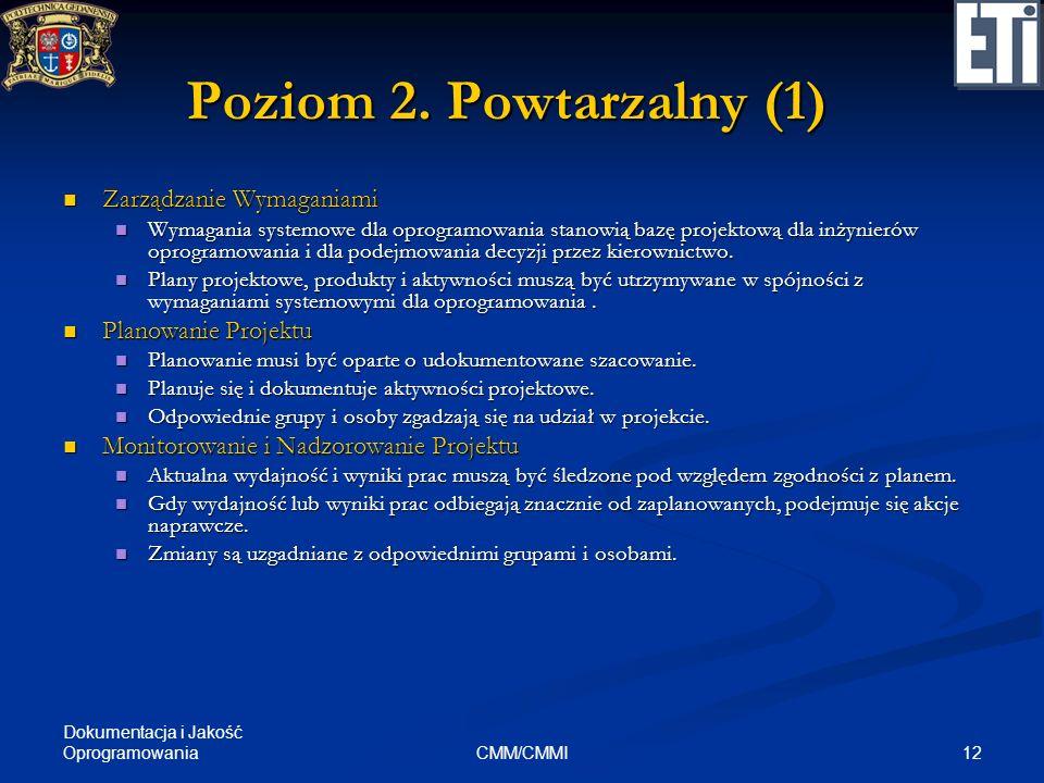 Poziom 2. Powtarzalny (1) Zarządzanie Wymaganiami Planowanie Projektu