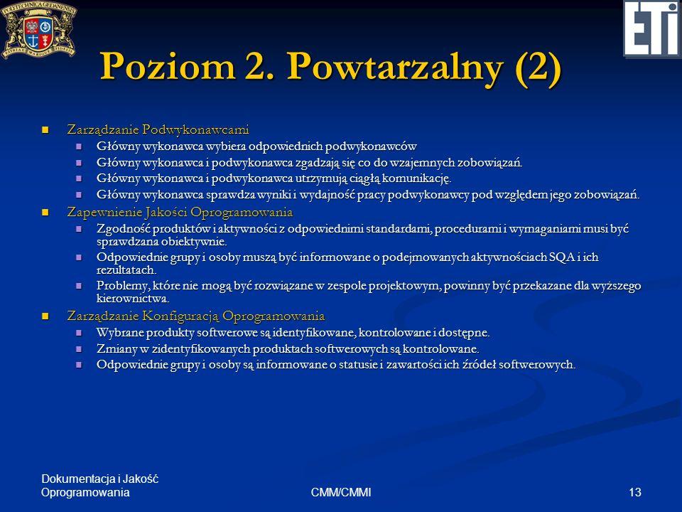 Poziom 2. Powtarzalny (2) Zarządzanie Podwykonawcami