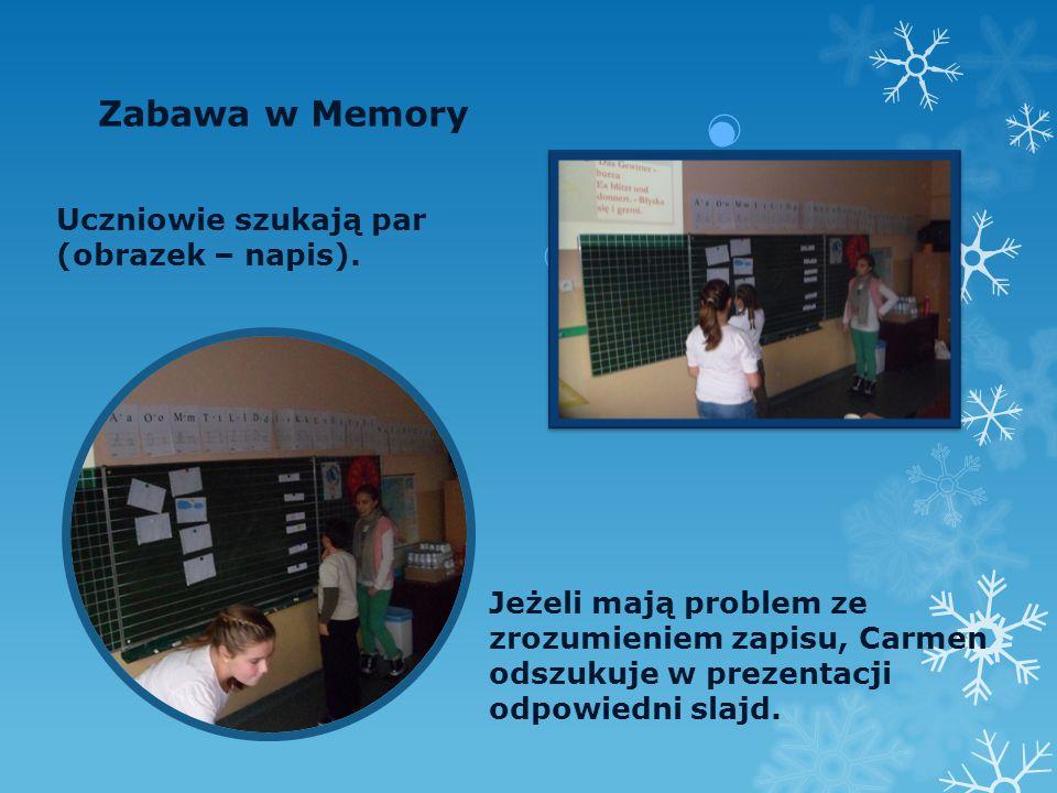 Zabawa w Memory Uczniowie szukają par (obrazek – napis).