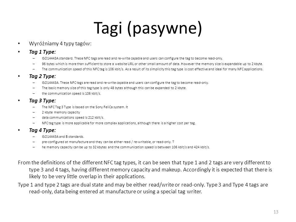 Tagi (pasywne) Wyróżniamy 4 typy tagów: Tag 1 Type: Tag 2 Type: