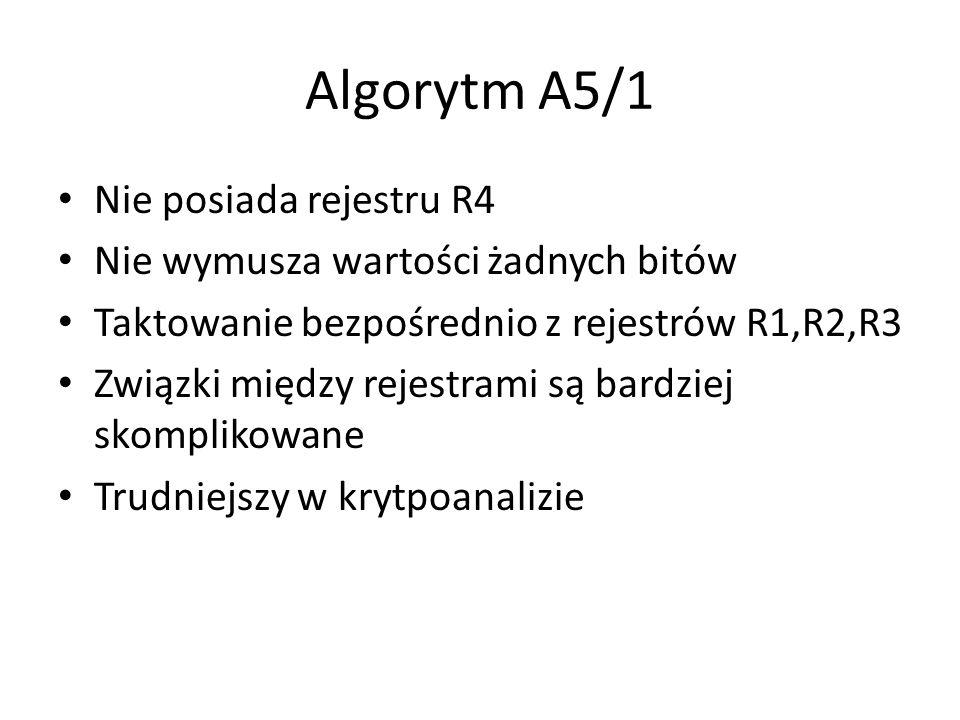 Algorytm A5/1 Nie posiada rejestru R4