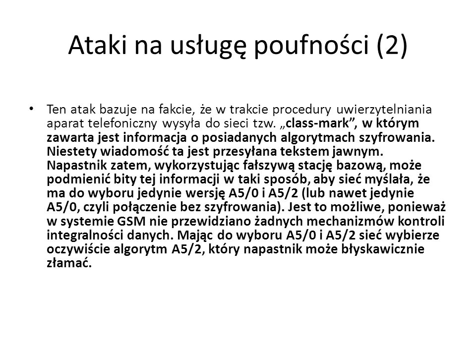Ataki na usługę poufności (2)