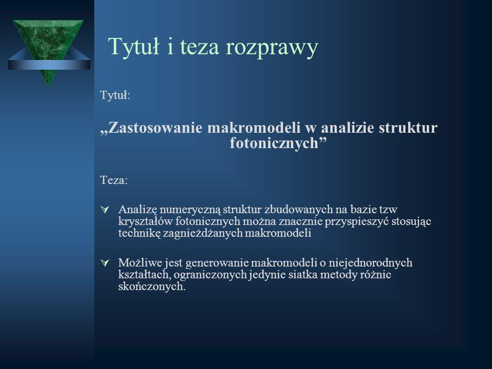 """""""Zastosowanie makromodeli w analizie struktur fotonicznych"""