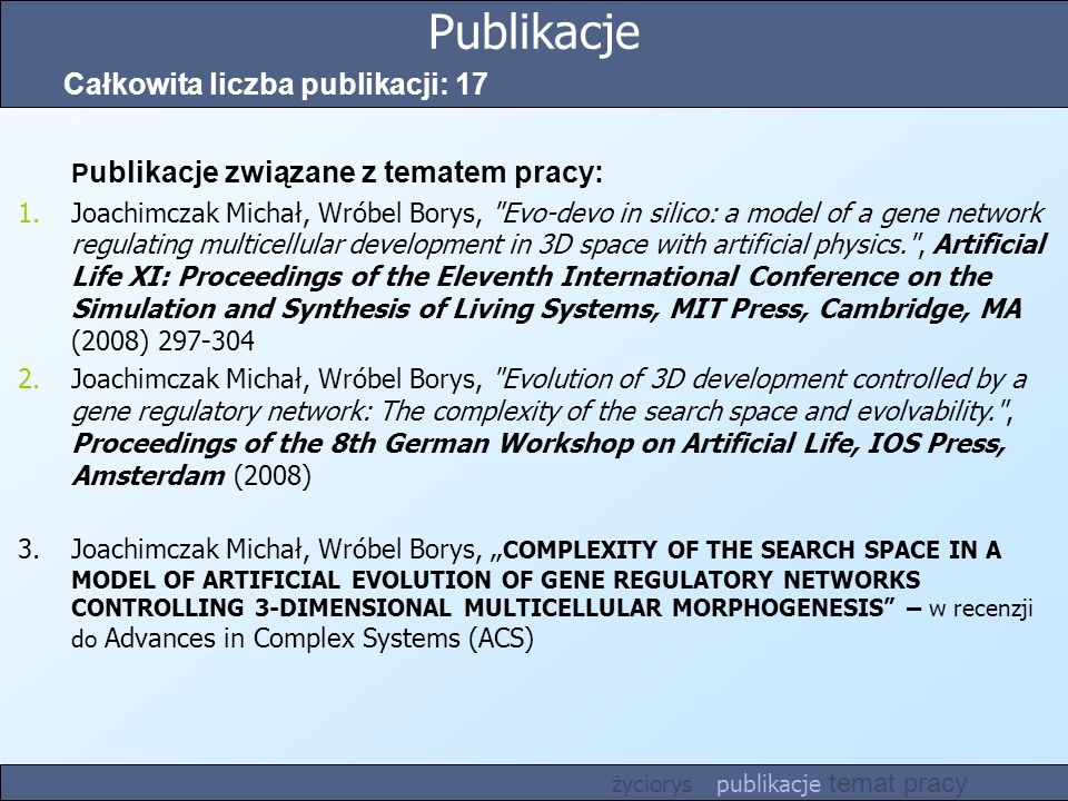 Publikacje Całkowita liczba publikacji: 17