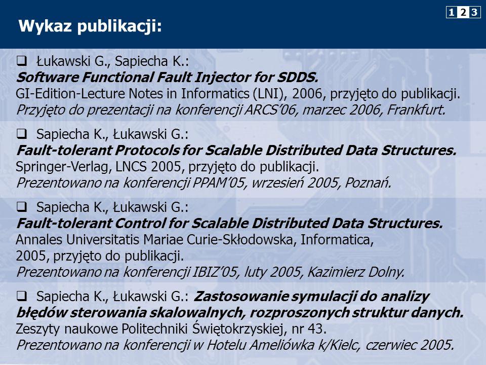 1 2. 3. Wykaz publikacji: Łukawski G., Sapiecha K.: Software Functional Fault Injector for SDDS.