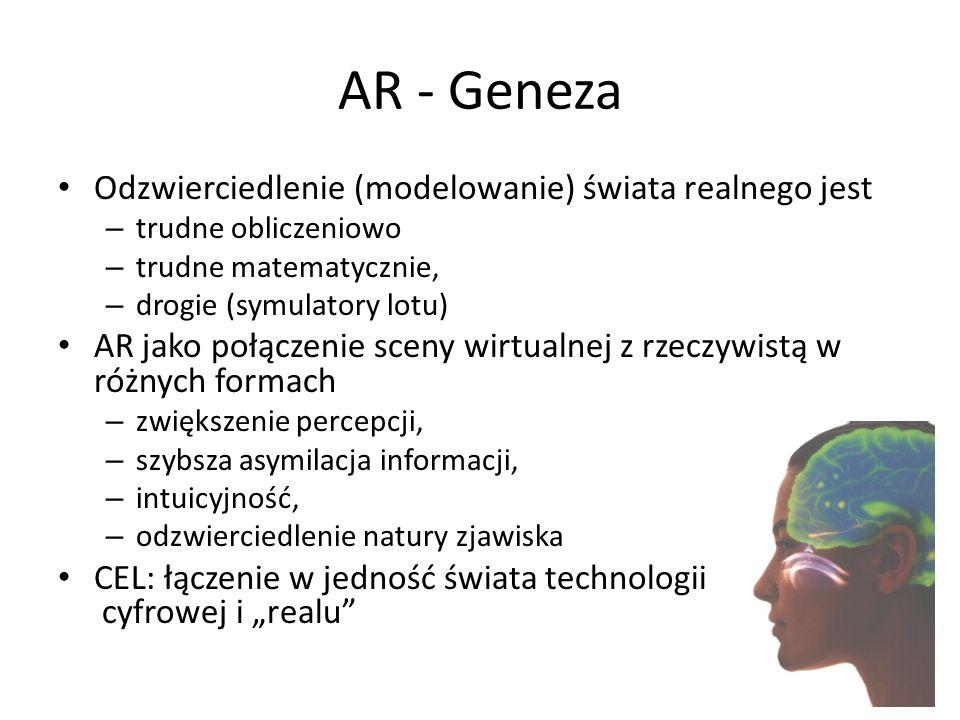 AR - Geneza Odzwierciedlenie (modelowanie) świata realnego jest