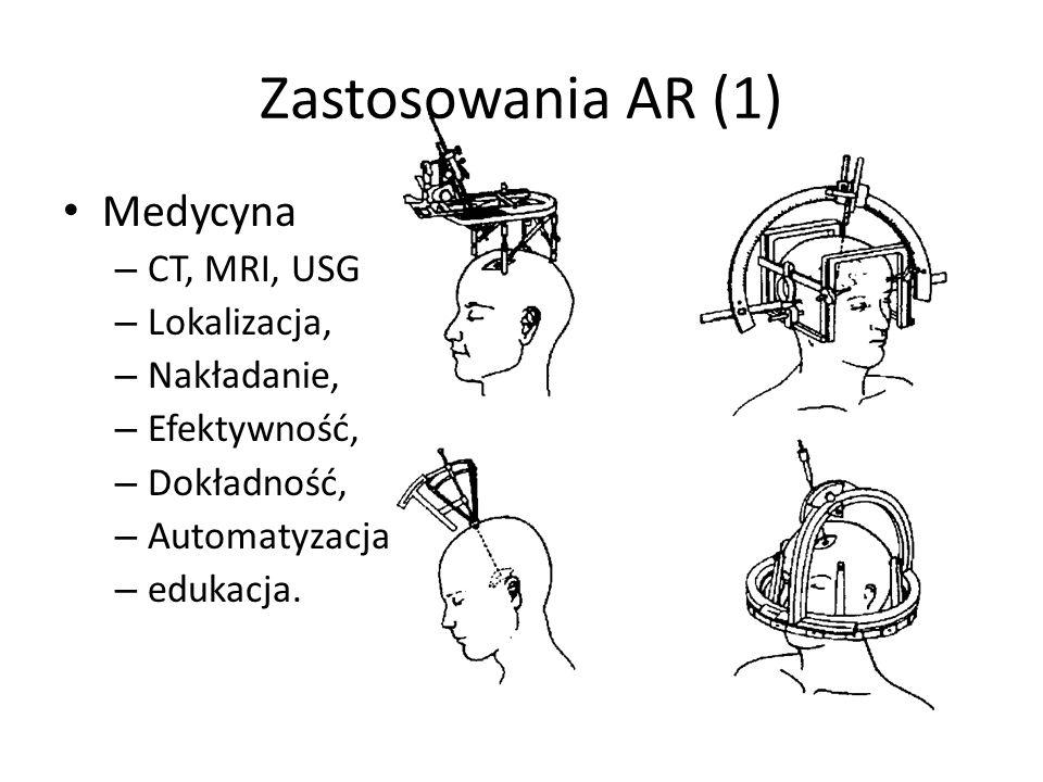 Zastosowania AR (1) Medycyna CT, MRI, USG Lokalizacja, Nakładanie,