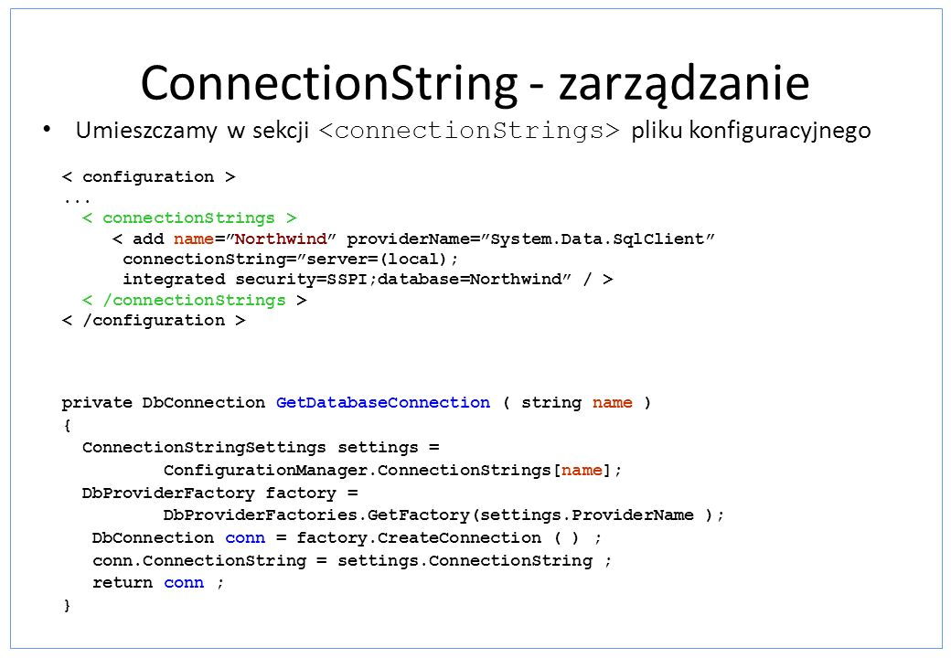 ConnectionString - zarządzanie