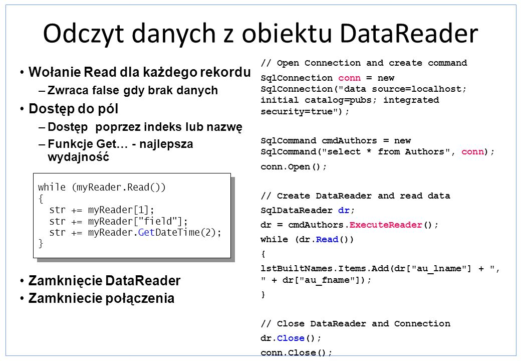 Odczyt danych z obiektu DataReader