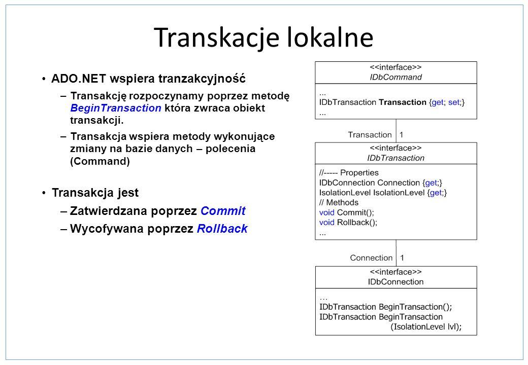 Transkacje lokalne ADO.NET wspiera tranzakcyjność Transakcja jest