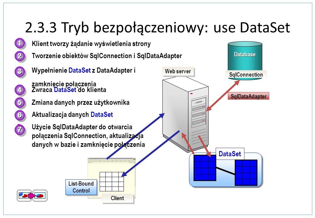 2.3.3 Tryb bezpołączeniowy: use DataSet