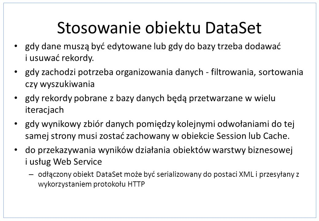 Stosowanie obiektu DataSet