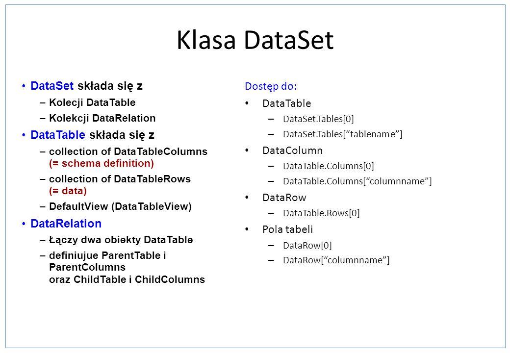 Klasa DataSet DataSet składa się z DataTable składa się z DataRelation