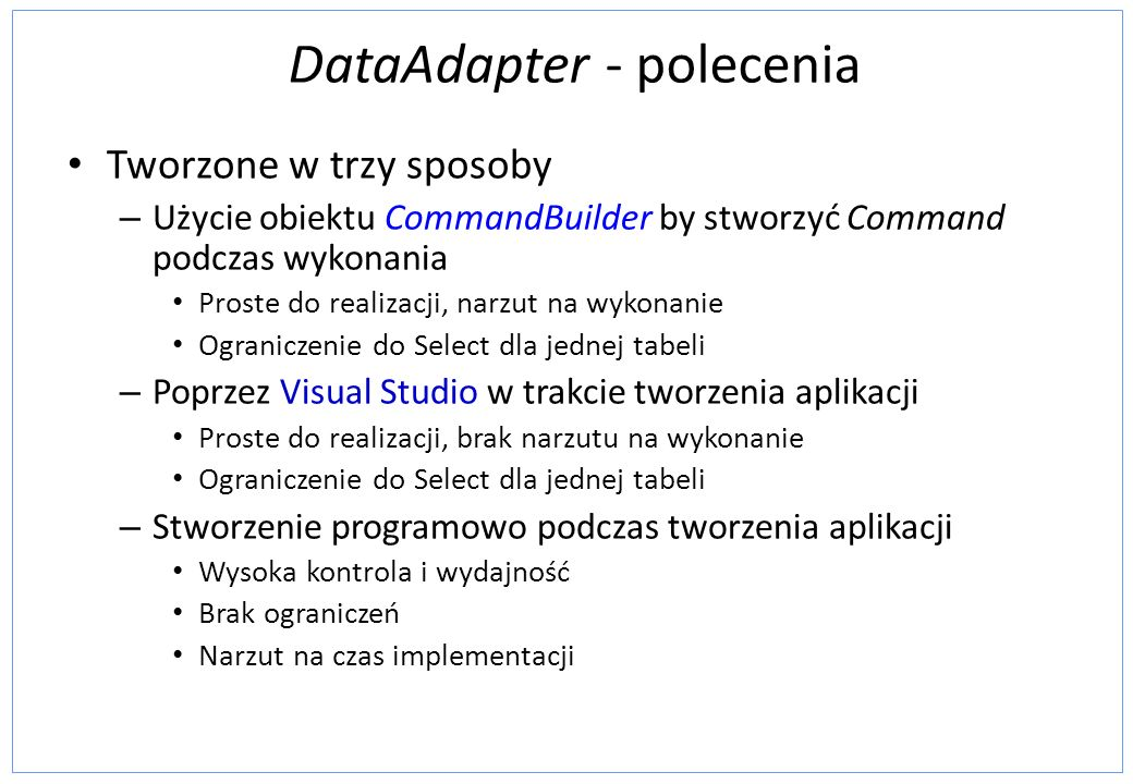 DataAdapter - polecenia