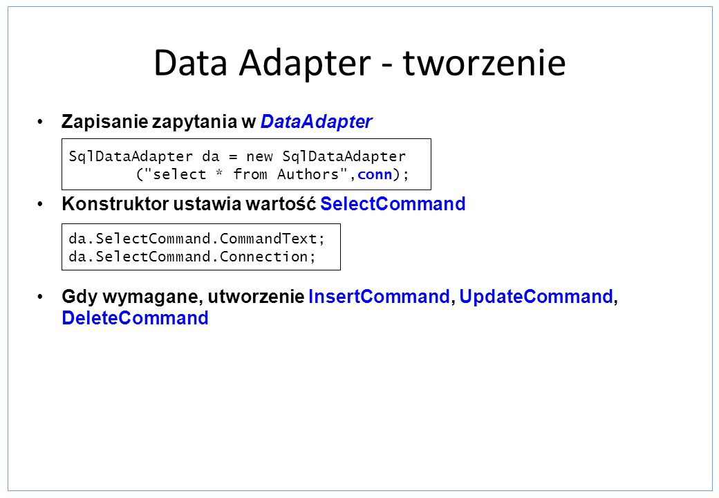 Data Adapter - tworzenie