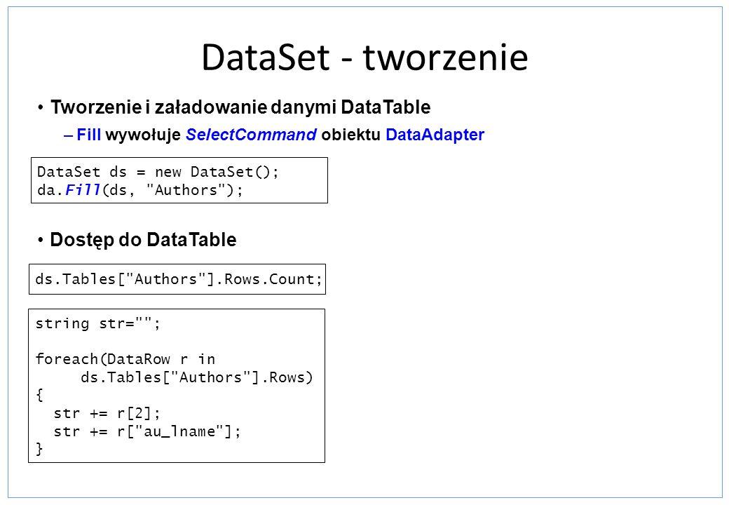 DataSet - tworzenie Tworzenie i załadowanie danymi DataTable