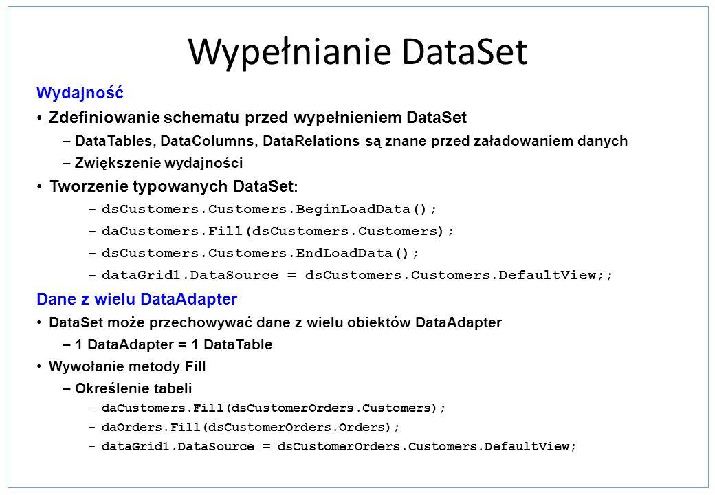 Wypełnianie DataSet Wydajność