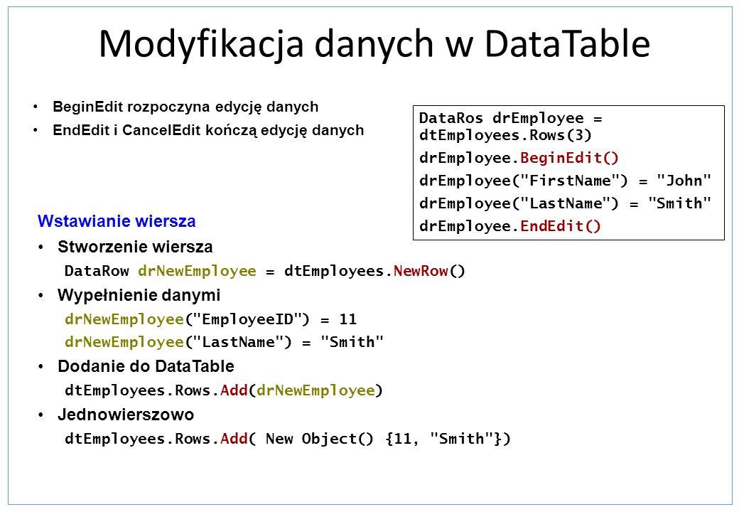 Modyfikacja danych w DataTable
