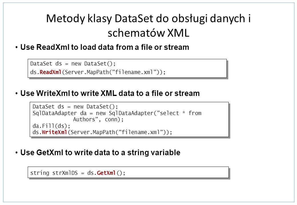 Metody klasy DataSet do obsługi danych i schematów XML