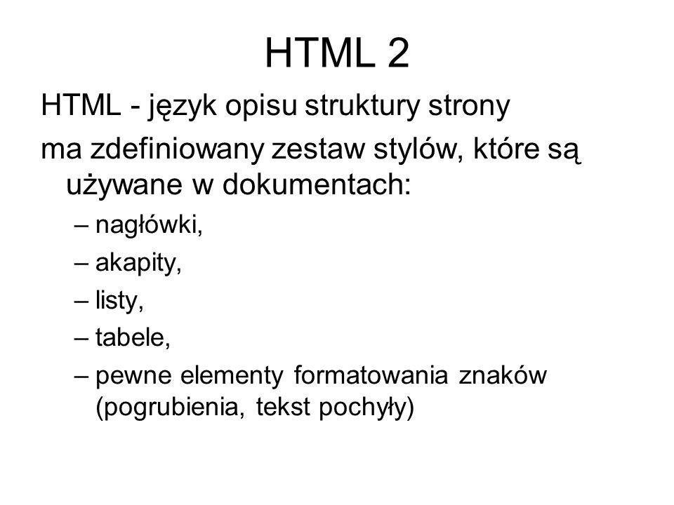 HTML 2 HTML - język opisu struktury strony