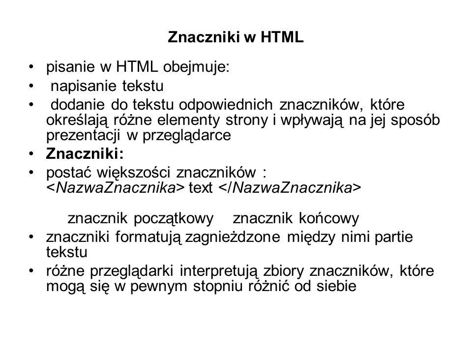 Znaczniki w HTML pisanie w HTML obejmuje: napisanie tekstu.