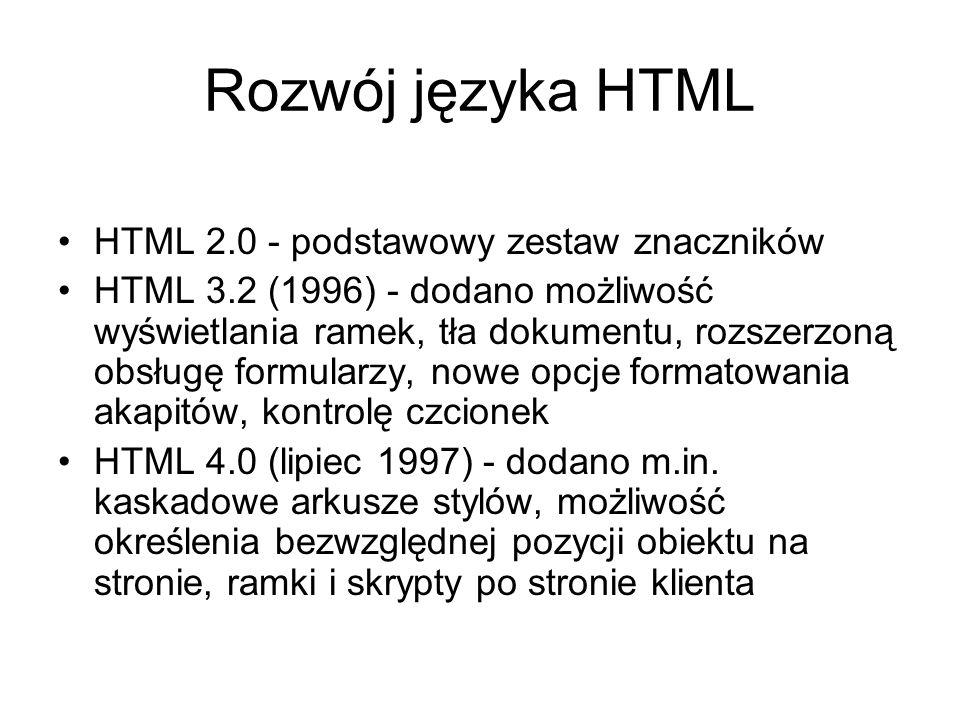 Rozwój języka HTML HTML 2.0 - podstawowy zestaw znaczników