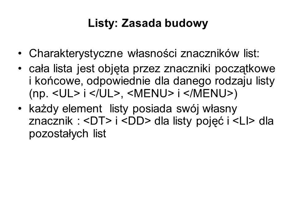 Listy: Zasada budowy Charakterystyczne własności znaczników list: