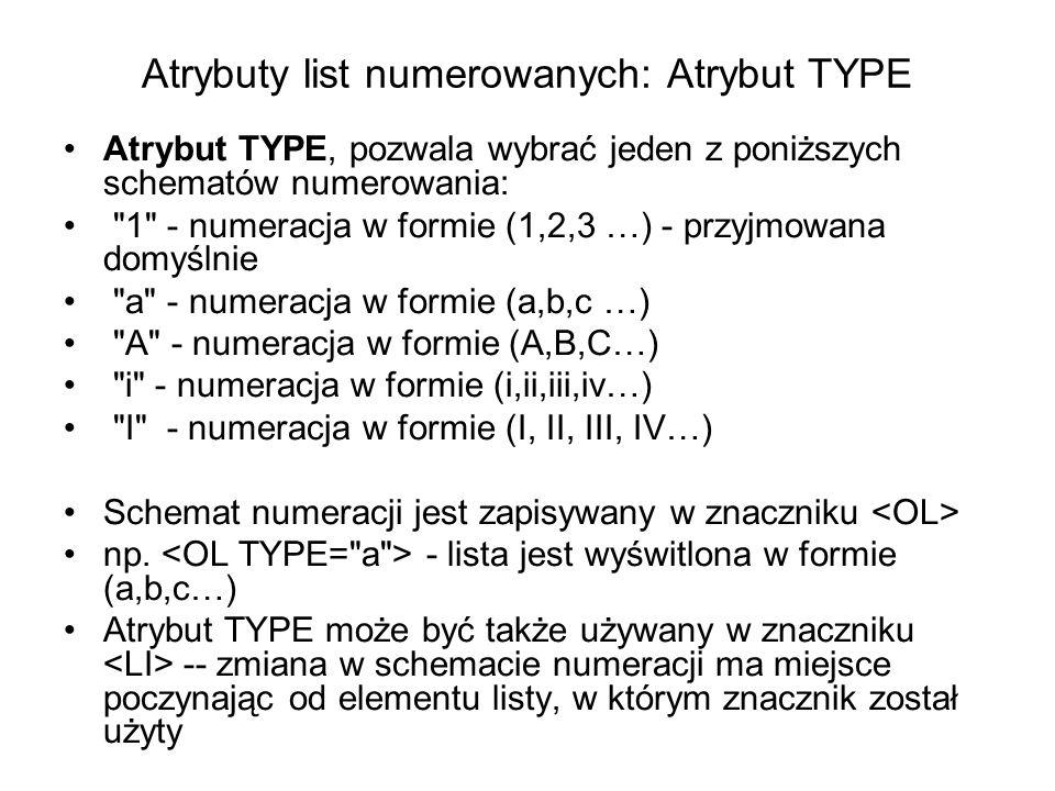 Atrybuty list numerowanych: Atrybut TYPE