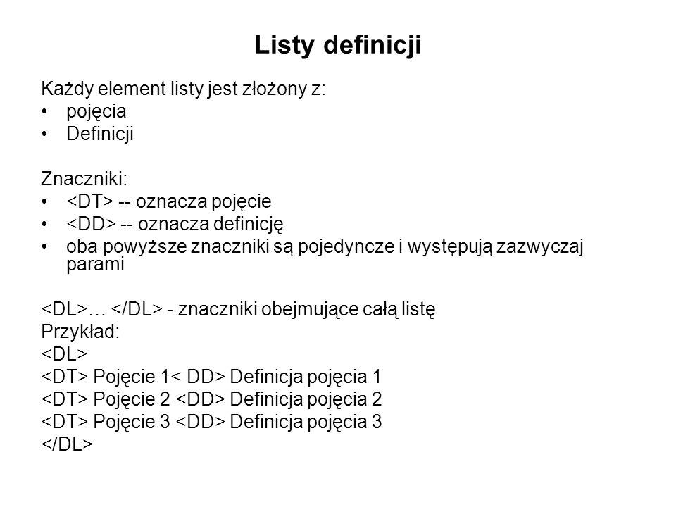 Listy definicji Każdy element listy jest złożony z: pojęcia Definicji