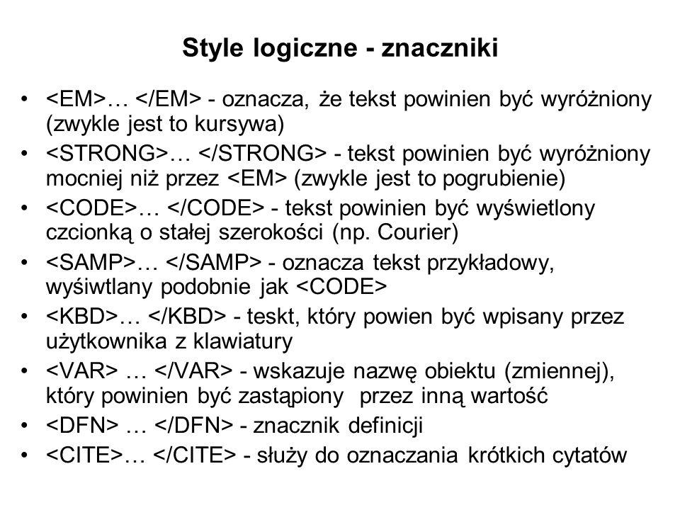 Style logiczne - znaczniki