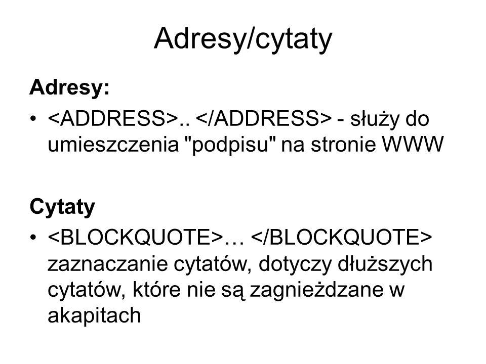 Adresy/cytaty Adresy: