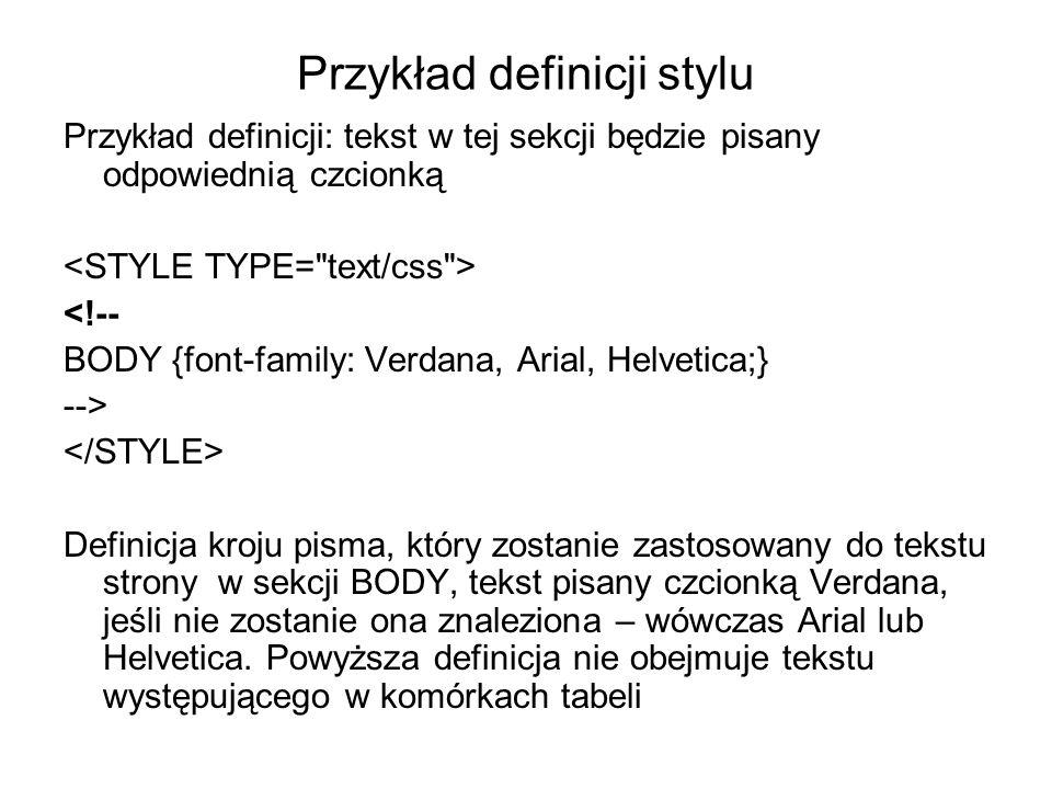 Przykład definicji stylu