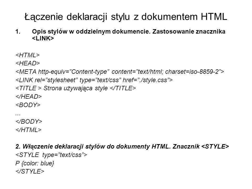 Łączenie deklaracji stylu z dokumentem HTML