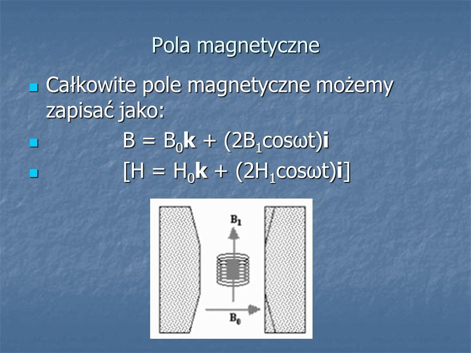 Pola magnetyczne Całkowite pole magnetyczne możemy zapisać jako: B = B0k + (2B1cosωt)i.