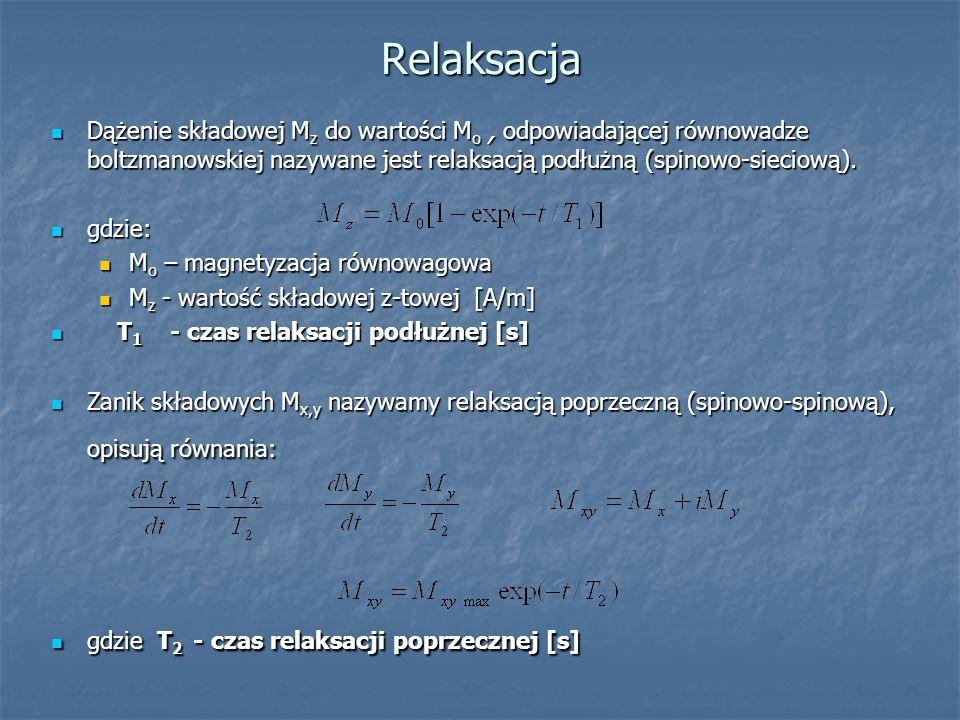 Relaksacja Dążenie składowej Mz do wartości Mo , odpowiadającej równowadze boltzmanowskiej nazywane jest relaksacją podłużną (spinowo-sieciową).