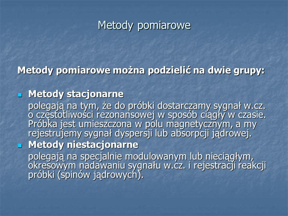 Metody pomiarowe Metody pomiarowe można podzielić na dwie grupy: