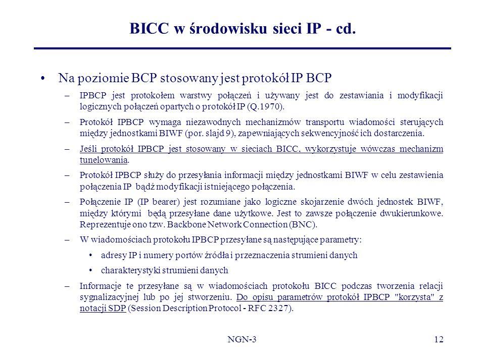 BICC w środowisku sieci IP - cd.