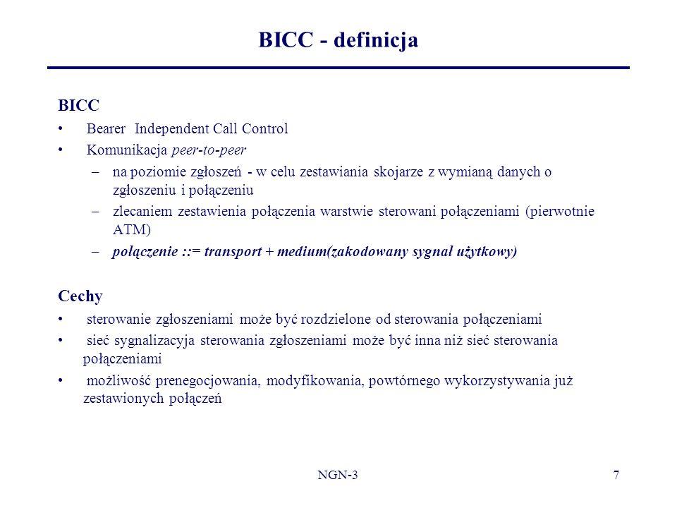 BICC - definicja BICC Cechy Bearer Independent Call Control
