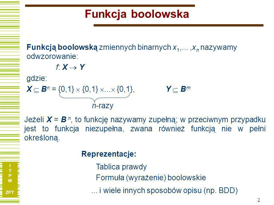 Funkcja boolowska Funkcją boolowską zmiennych binarnych x1,... ,xn nazywamy odwzorowanie: f: X  Y.