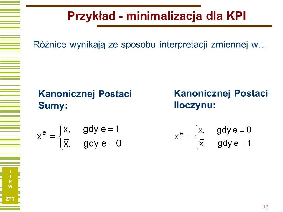 Przykład - minimalizacja dla KPI