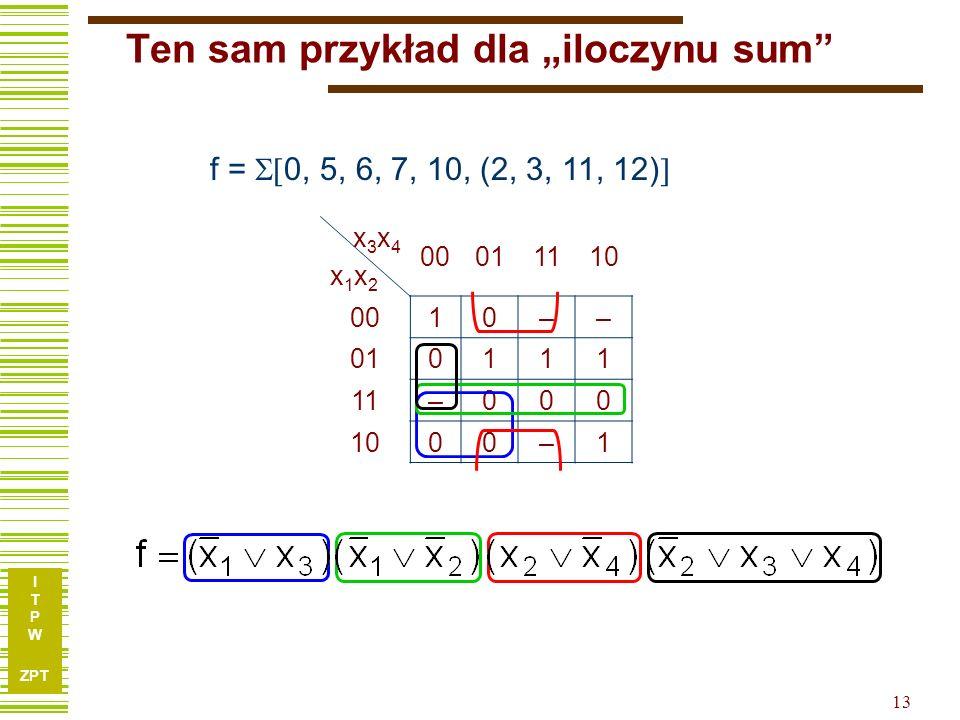 """Ten sam przykład dla """"iloczynu sum"""